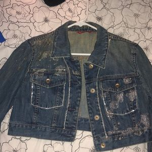 Express crop embellished/painted jean jacket